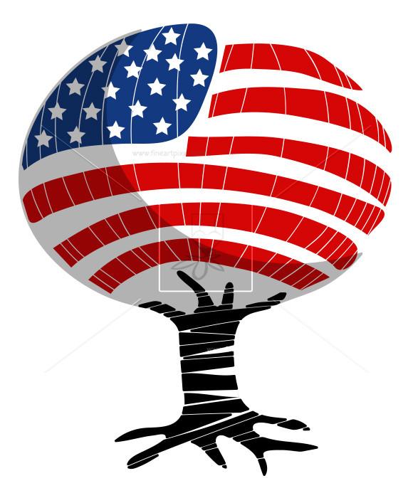 US Flag Tree Design.