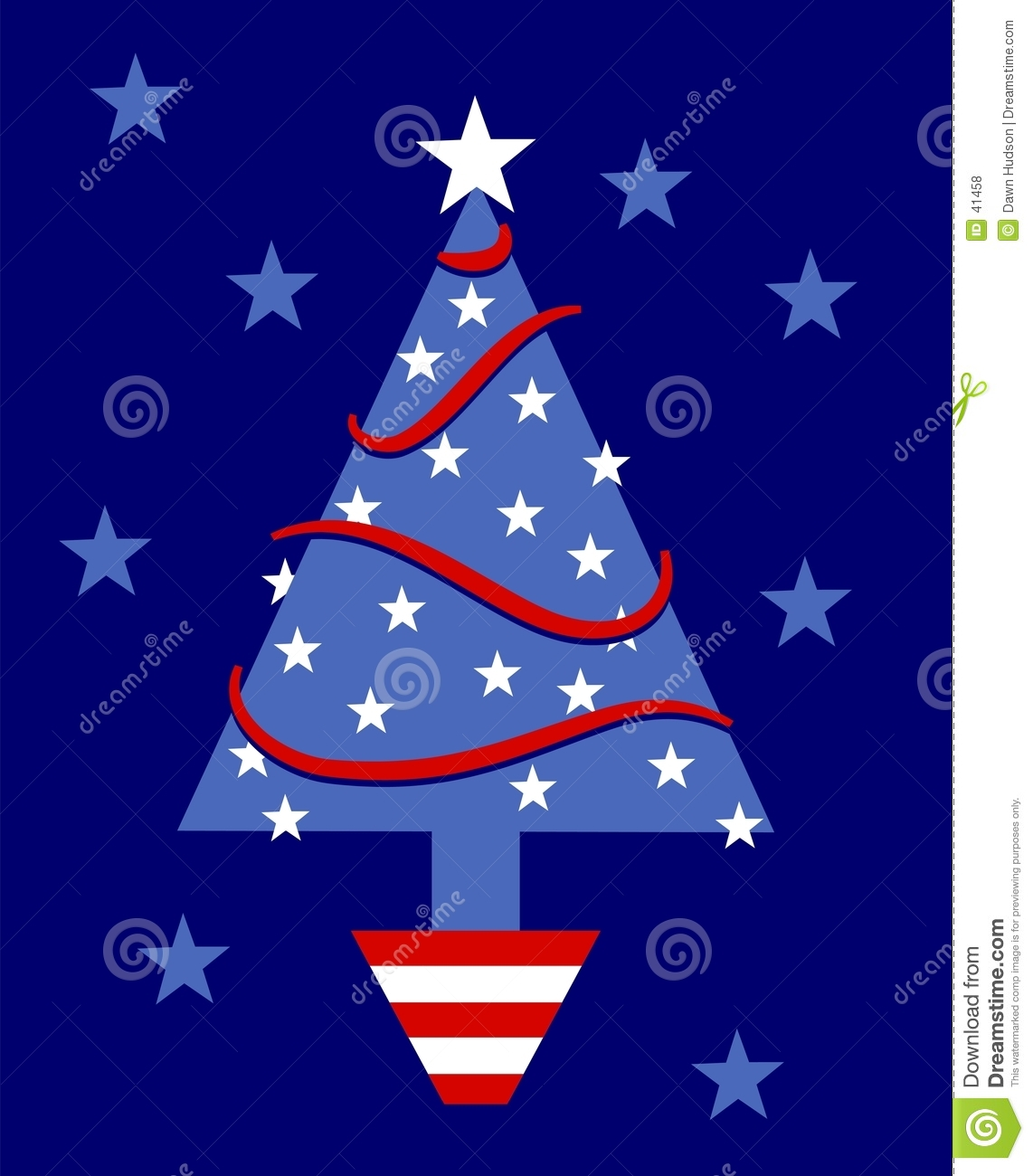Patriotic Christmas Tree Clipart.