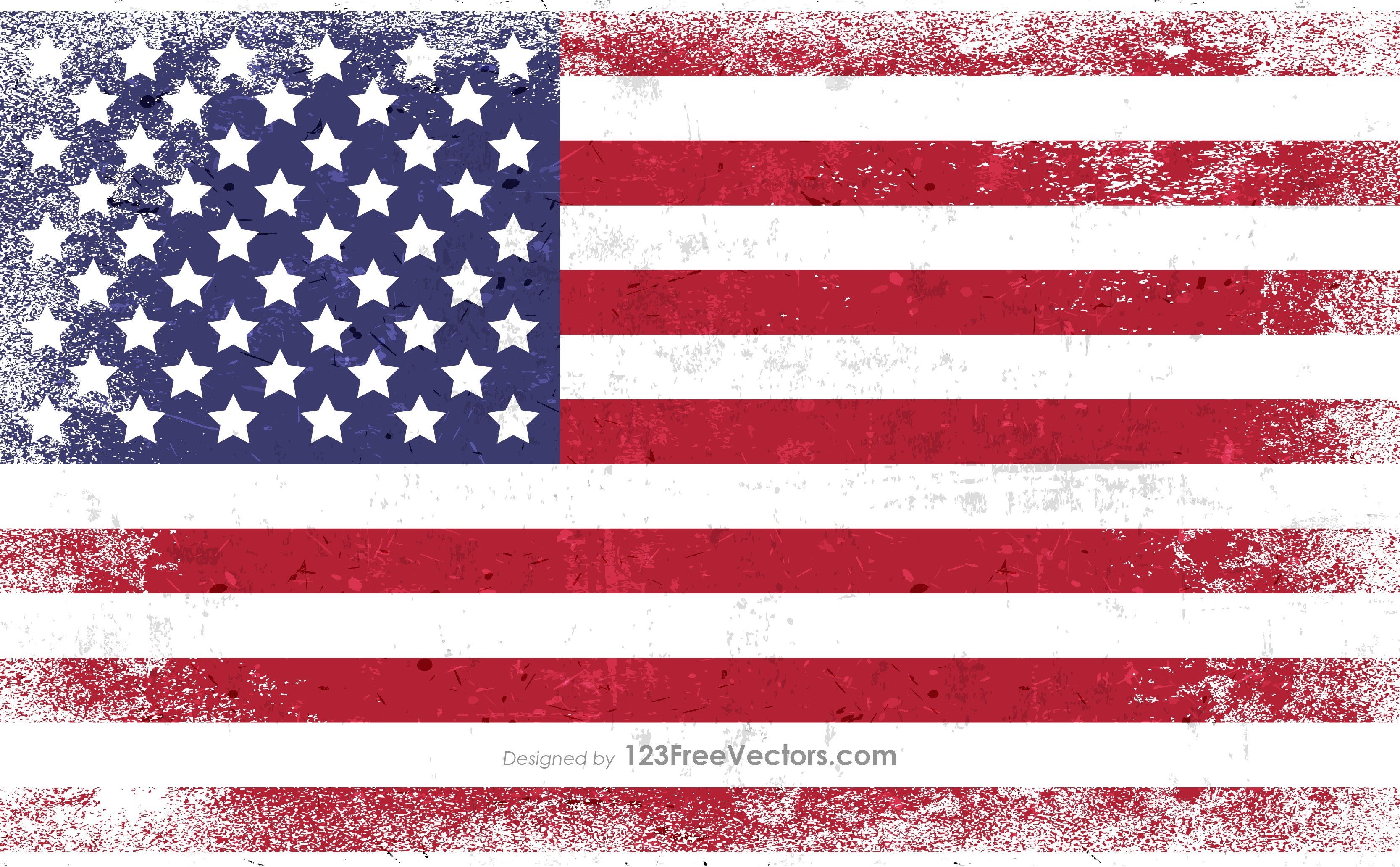 Distressed American Flag Vector.