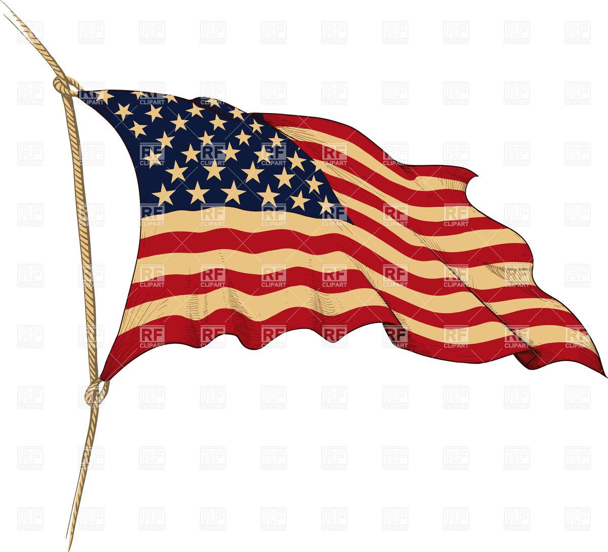 Vintage American Flag Clipart.