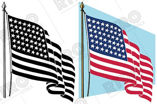 A graphic of the American flag waving in the breeze. vintage.