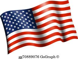 Waving American Flag Clip Art.