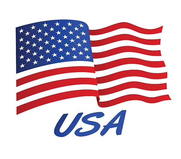 Best American Flag Waving Illustrations, Royalty.