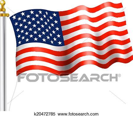 American Flag Waving Clipart.