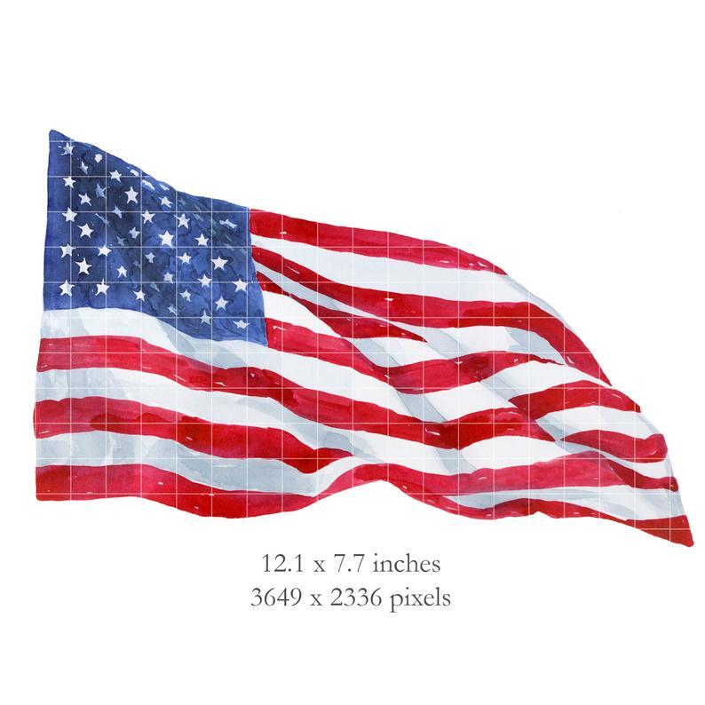 WATERCOLOR American Flag Waving Clipart.