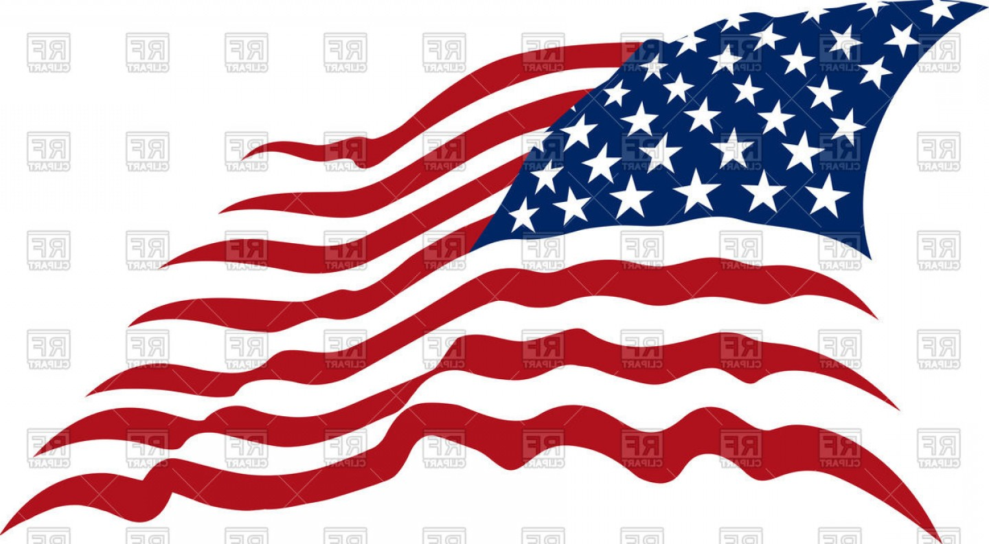 Waving American Stars And Stripes Usa Flag Vector Clipart.