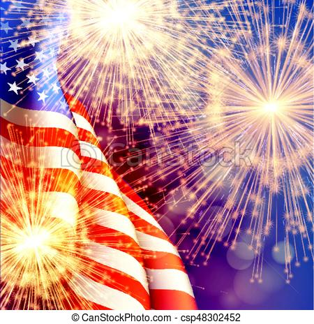 Fireworks background for 4th of July Independense Day with american flag.  Vector illustration.