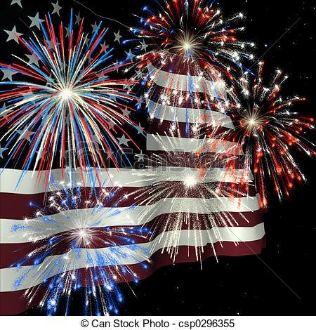 Fireworks over US Flag 1.
