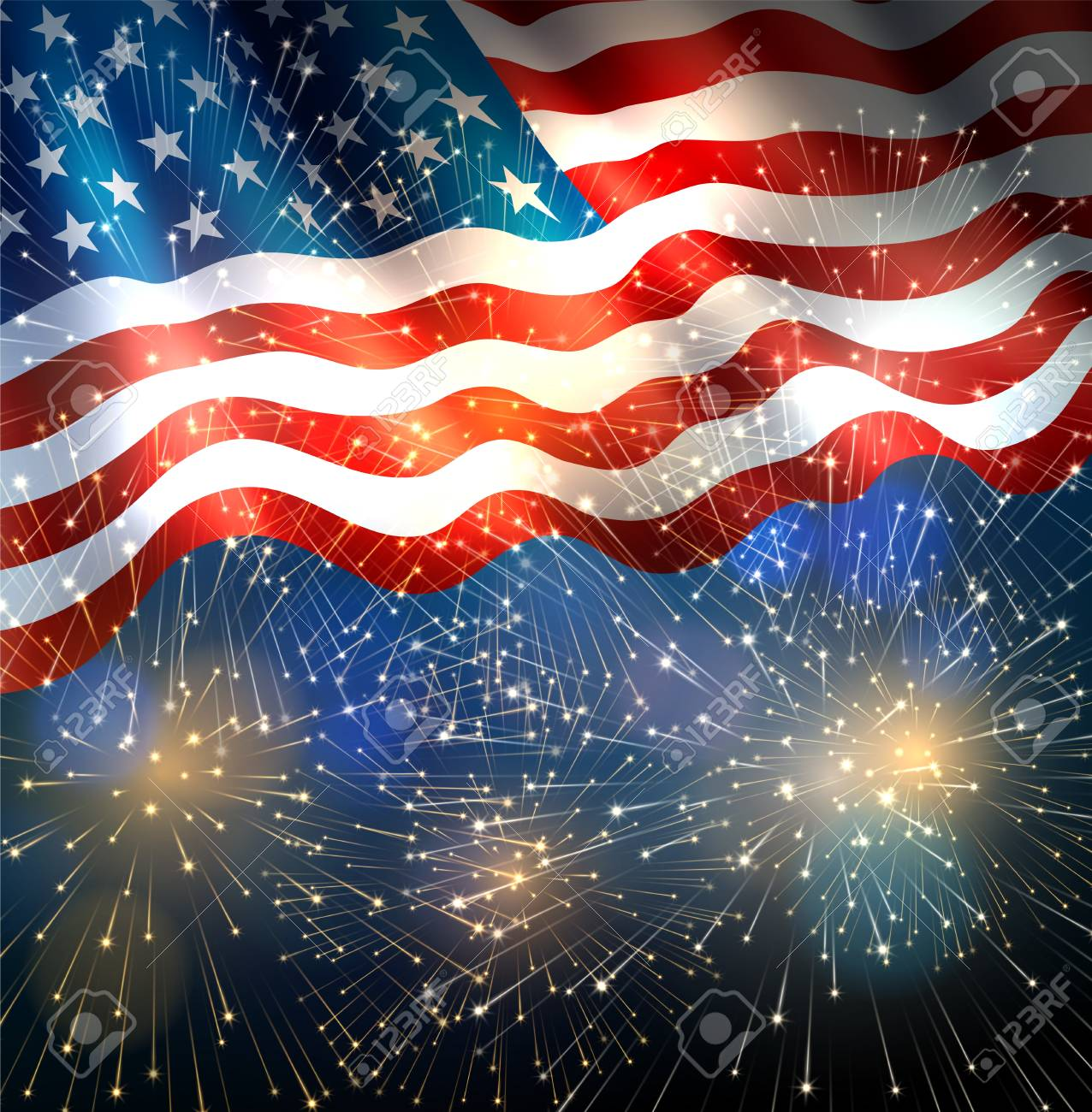 Patriotic background with american flag and fireworks, background...