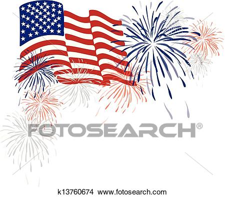 American Usa Flag and Fireworks Clipart.