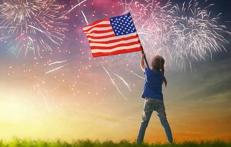 American Flag Fireworks Stock Photos And Images.