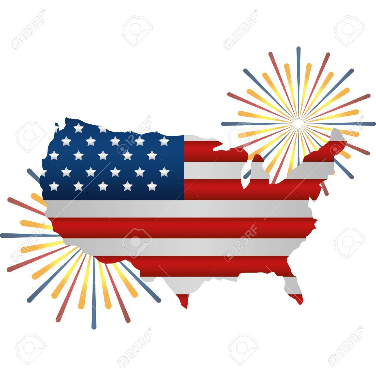United states of america map with flag and fireworks » Clipart Portal.