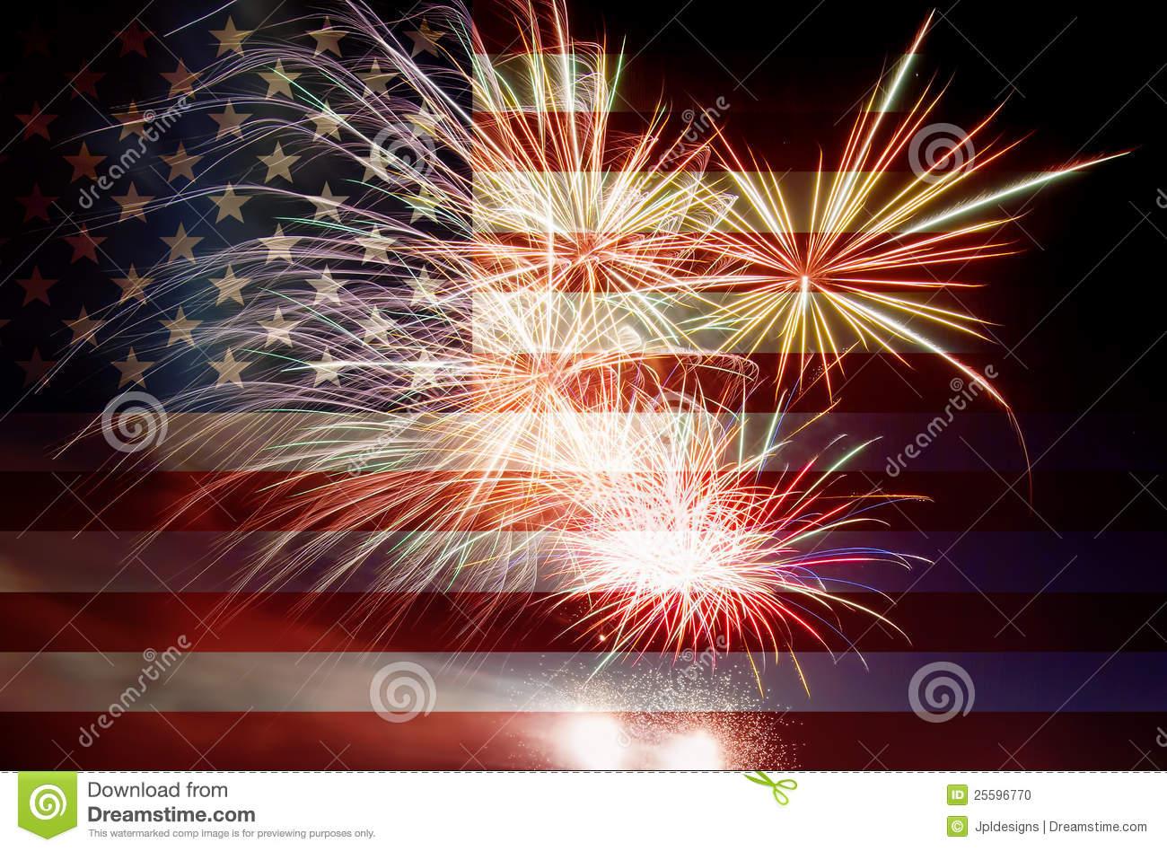 USA Flag with Fireworks stock photo. Image of united.