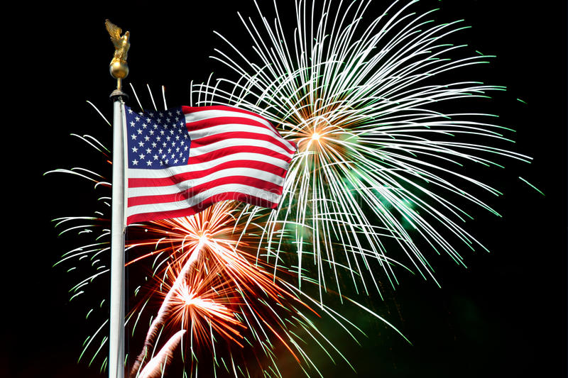 American Flag And Fireworks Stock Photo.