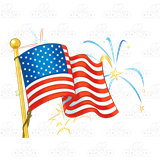 American Flag, with fireworks.