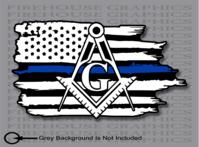 Thin Blue Line Police Mason Masonic American flag sticker Decal.