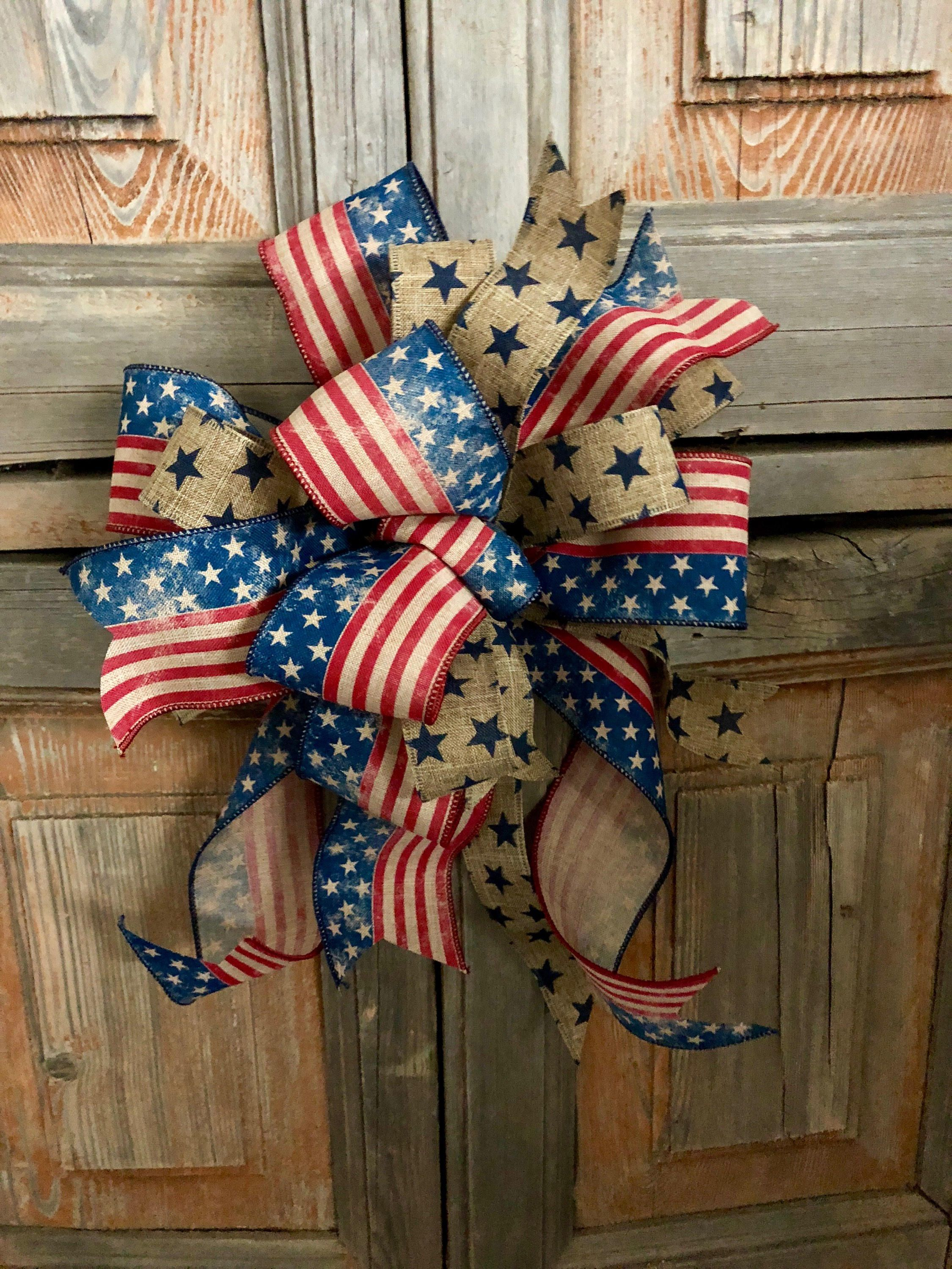 Old Glory primitive american flag bow for wreath/swag bow.
