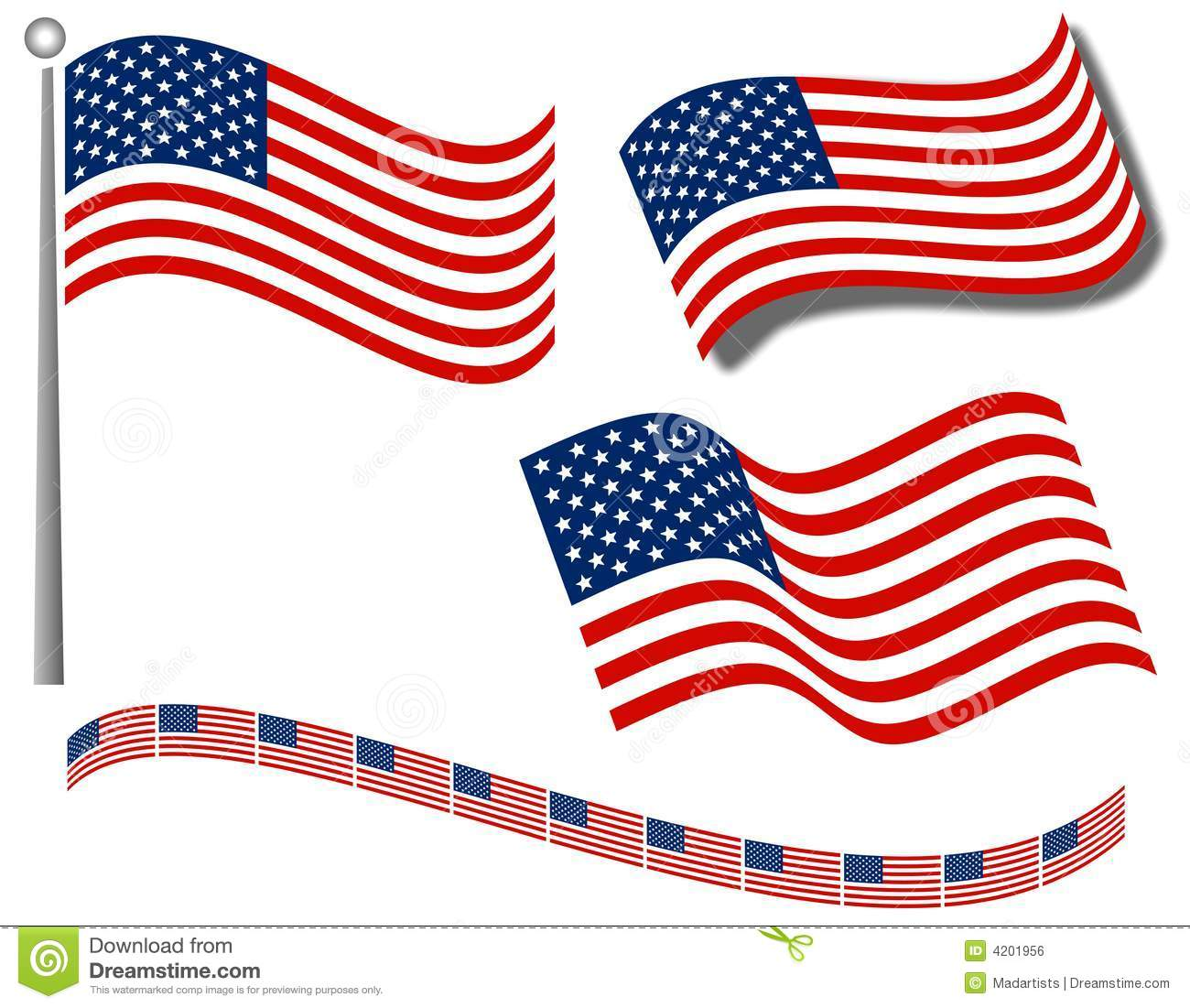 American Flags Clip Art And Divider Royalty Free Stock Image.