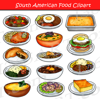 South American Food Clipart Set.