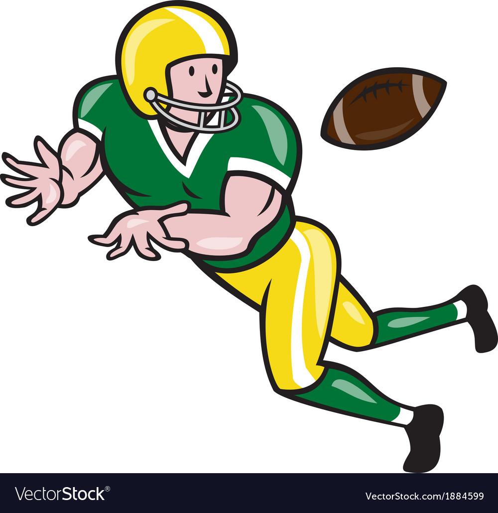 American Football Wide Receiver Catch Ball Cartoon.