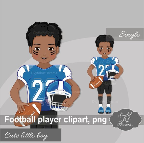 American Football Player Clipart, African American Boy.