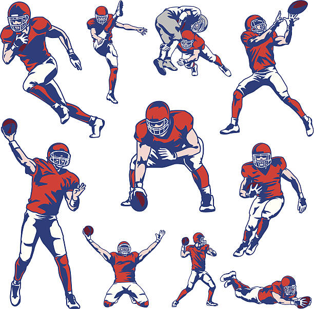 Best American Football Player Illustrations, Royalty.