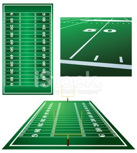 Football Fields, Goal Posts and Fifty Yard Line Clipart.