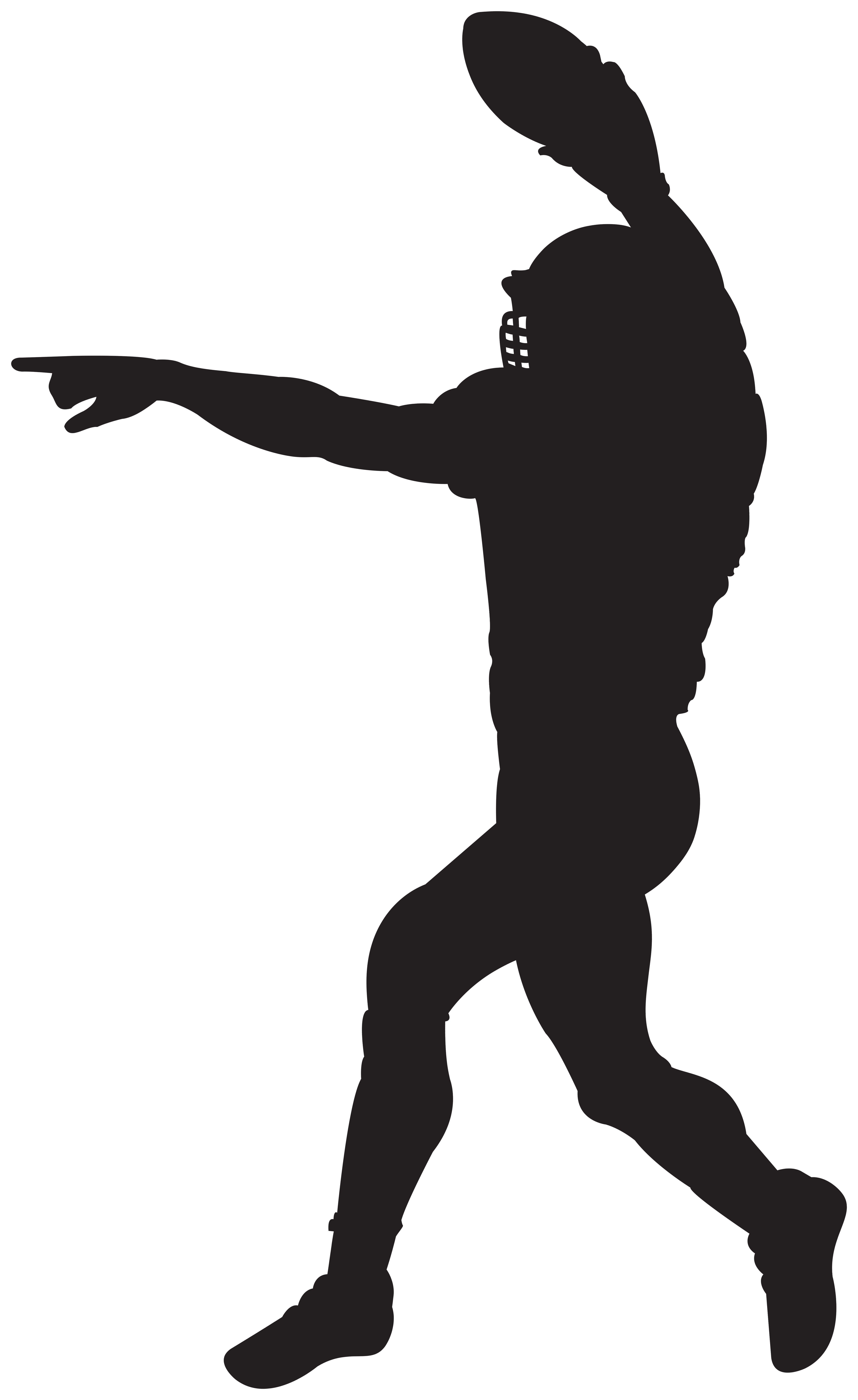 American Football Player Silhouette Clipart Image.