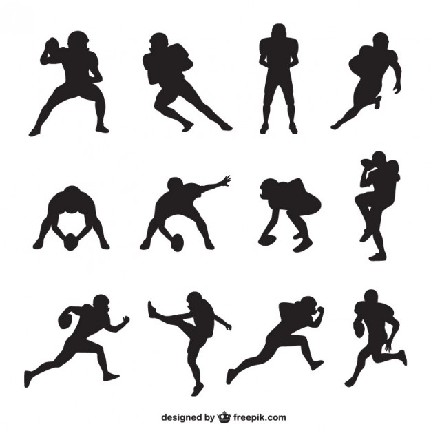American football player silhouettes collection Vector.