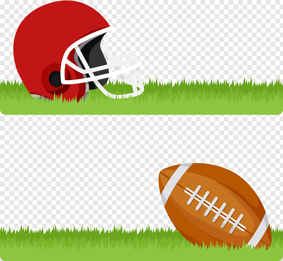 Red football helmet and brown football ball on green grass.