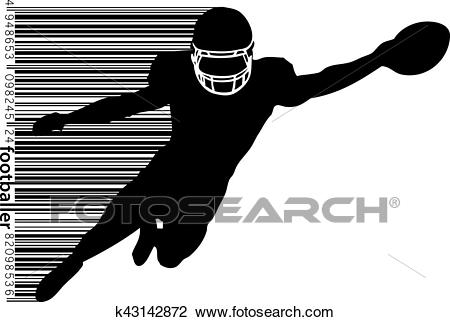 Silhouette of a football player and barcode. Rugby. American footballer  Clipart.