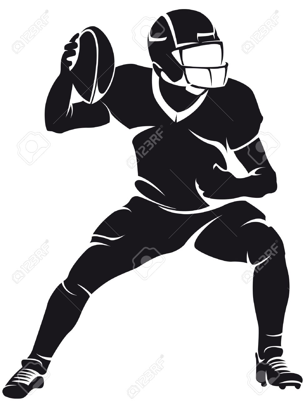 American football player, silhouette.