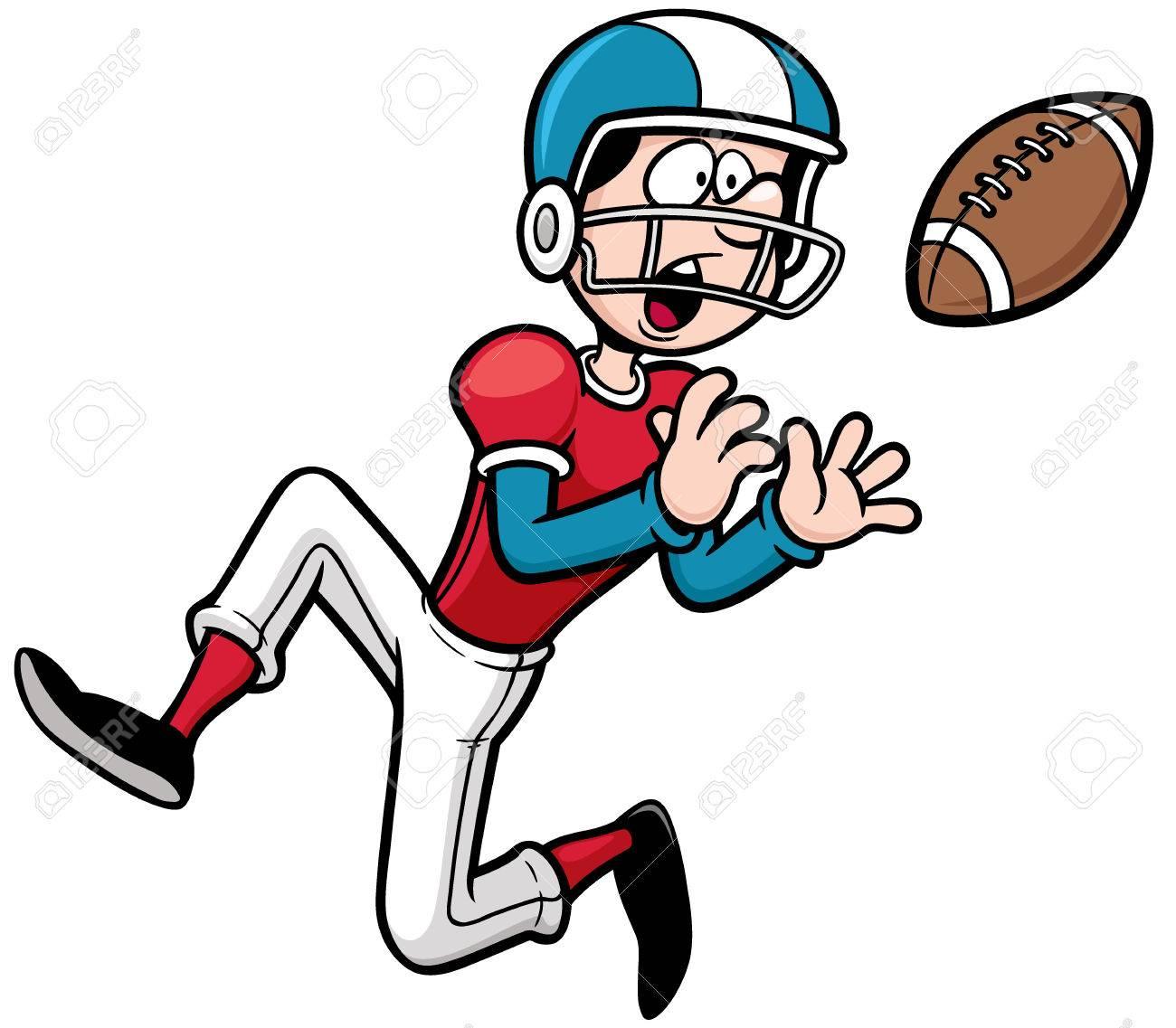 Vector illustration of Cartoon American football player.