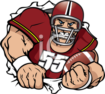 Royalty Free Clipart Image of a Football Player.