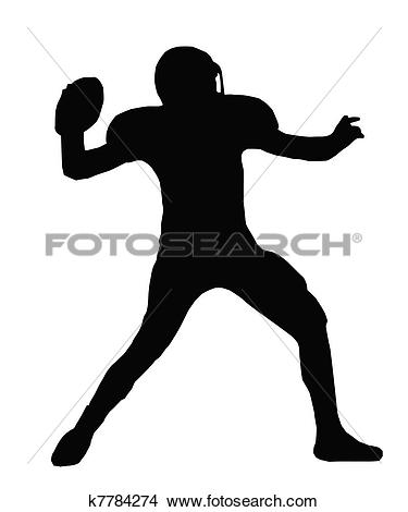 Clipart of Silhouette American Football Quarterback Throw k7784274.