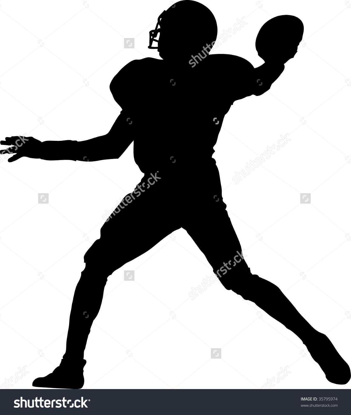 American Football Player Throwing Ball Stock Vector 35795974.
