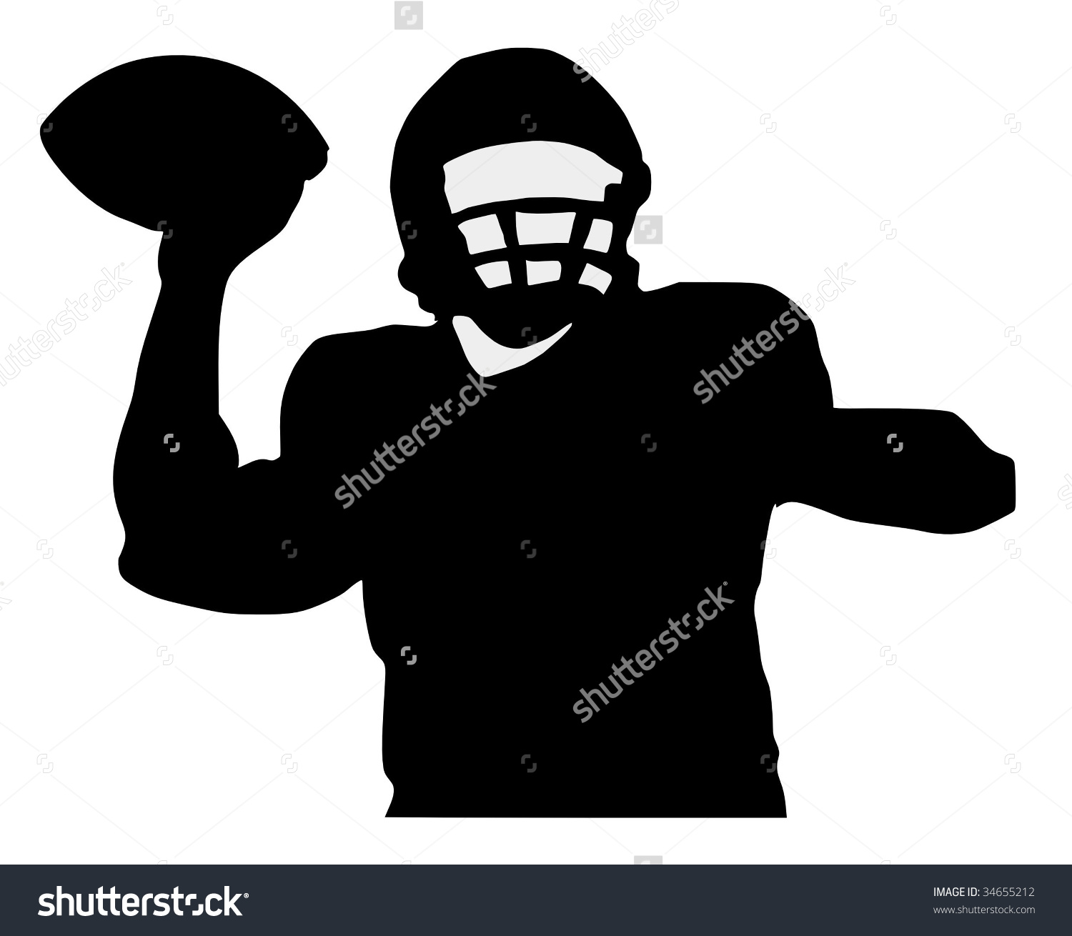 Silhouette Football Player Stock Vector 34655212.
