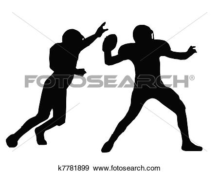 Clip Art of Silhouette American Football Quarterback and Defender.