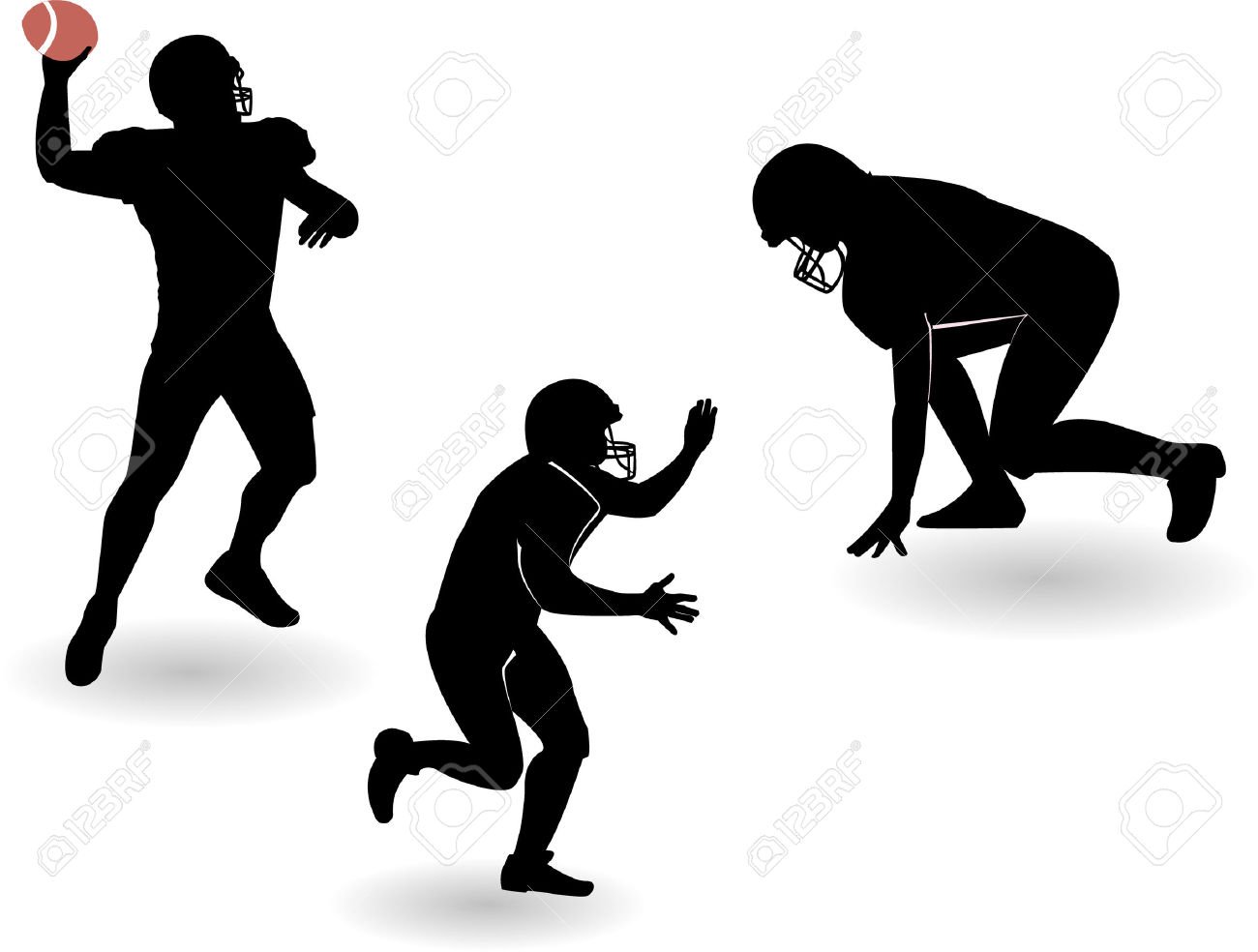 The American Football Silhouettes Set Royalty Free Cliparts.