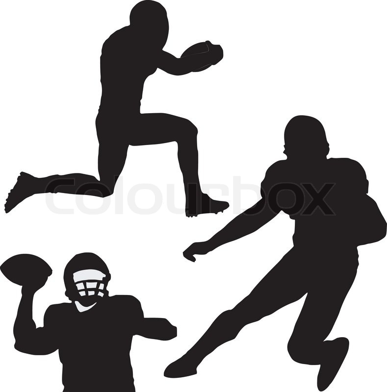 The vector american football silhouettes set.