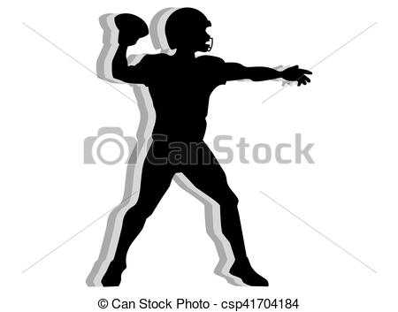 Vector of American football quarterback silhouette isolated on.