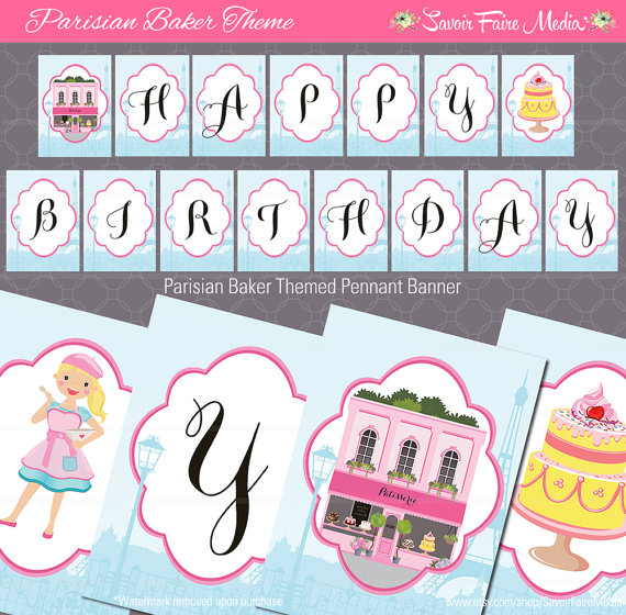 Paris Bakery Themed Party Favor Tag French Birthday Party.
