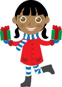 American Girl Christmas Clipart.
