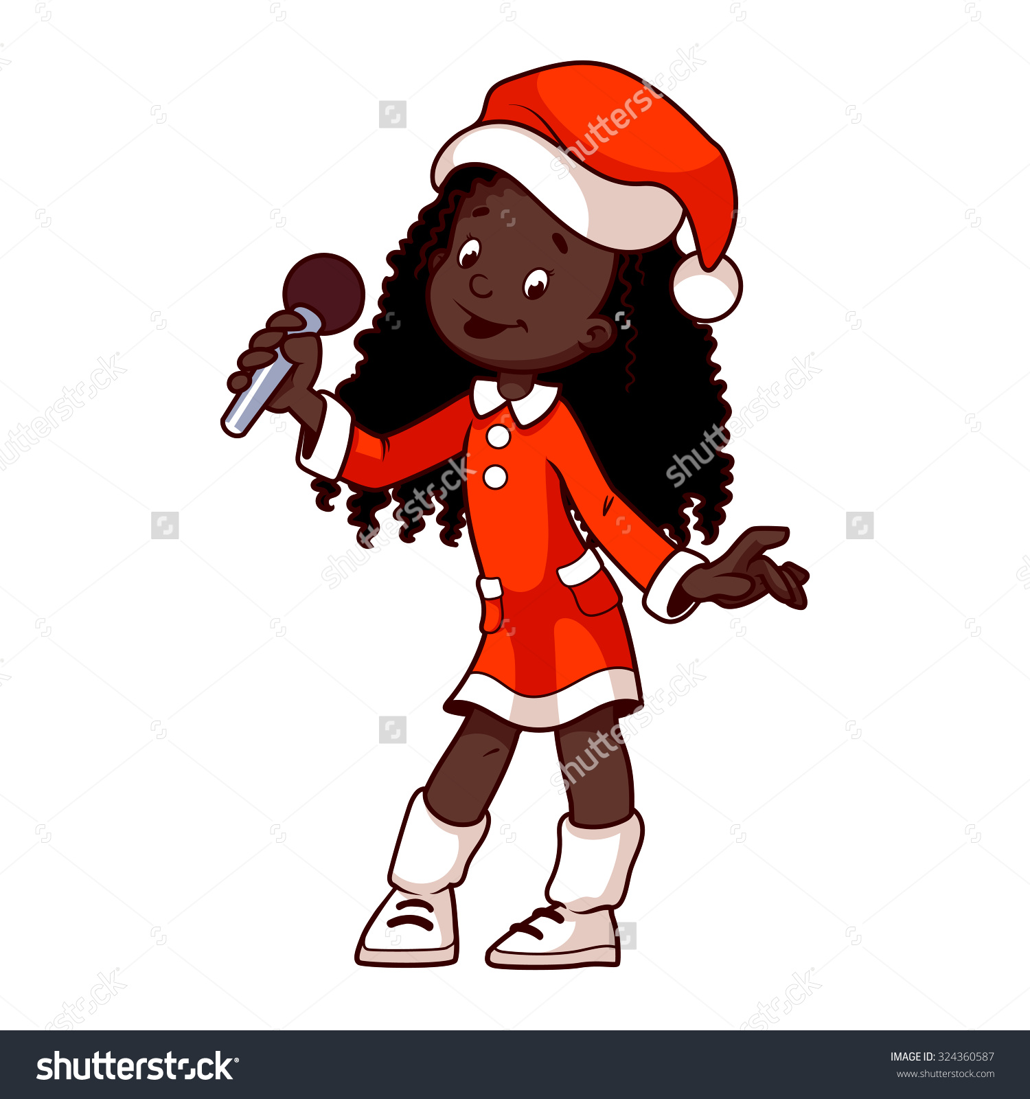 African American Girl Christmas Dress Singing Stock Vector.