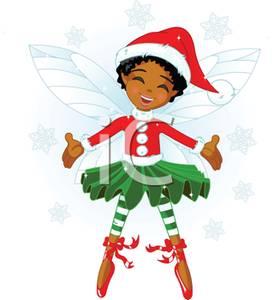 African american girl elf clipart.