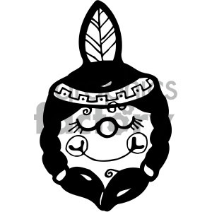 black and white native american girl clipart. Royalty.