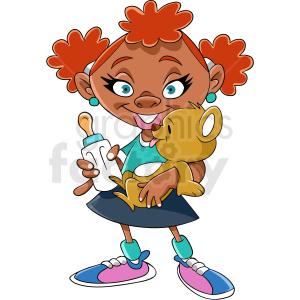 African American girl cartoon clipart. Royalty.