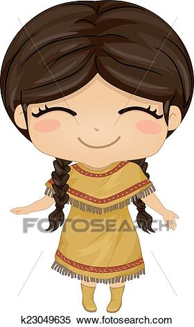 Native American Girl Clipart.