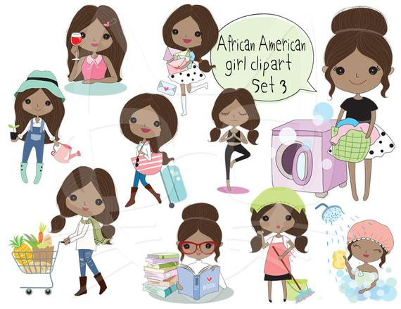 African American girl Clip art Black Girl clipart set 3 , instant download  PNG file.