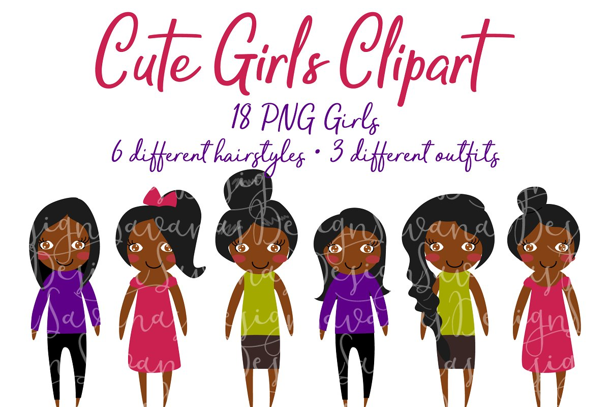 African American Girls Clipart PNG.